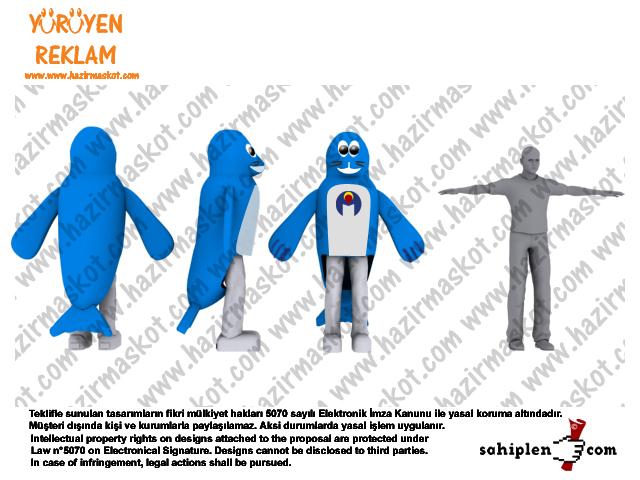 Fok Balığı Maskot Kostümü Erkek