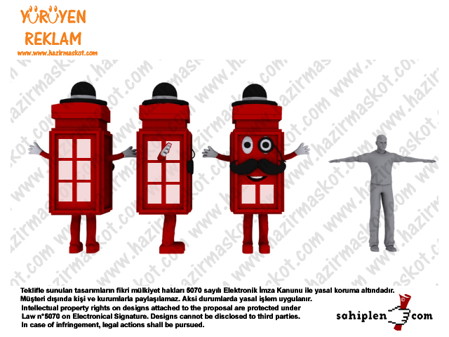 İngilizce Kursu Maskot kostümü / Telefon Kulübesi