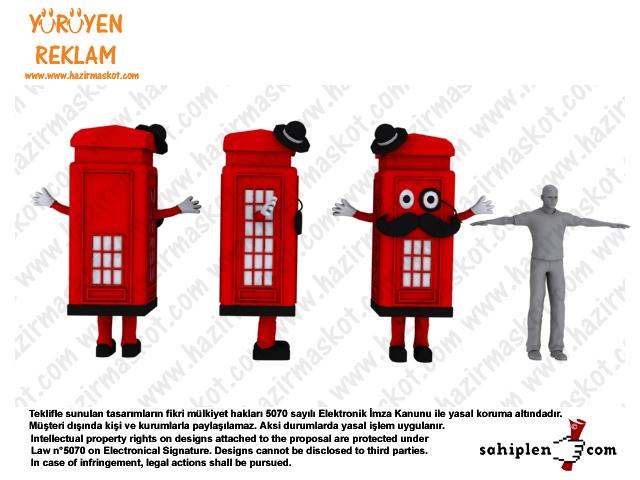 UK Telefon kulübesi Maskot kostümü